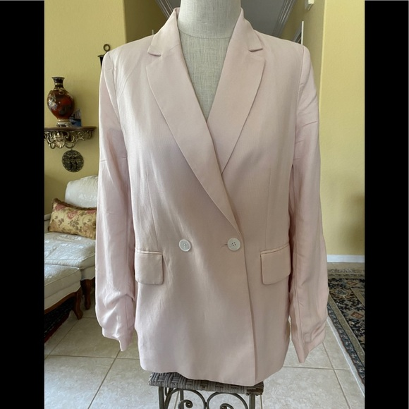 H&M Pale Pink Oversized Double Breasted Blazer